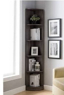 Q Max Contemporary 5 Tier Curved Front Corner Bookshelf  Retail 162 49