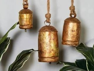 The Curated Nomad Goodman Metal and Rope 12  18  and 22 in  Cow Bells  Set of 3