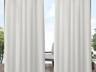 84 x54  Delano Heavyweight Textured Indoor Outdoor Grommet Top light Filtering Window Curtain Panel Pair Vanilla White   Exclusive Home