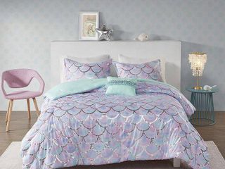 Full Queen 4pc Daphne Metallic Printed Reversible Comforter Set Aqua Purple