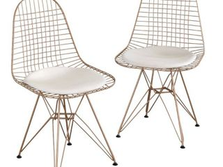 Set of 2 Eiffel Wire Chairs Gold   Buylateral