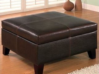 COASTER 501042 Dark Brown leather Vinyl Storage Ottoman with Wood legs