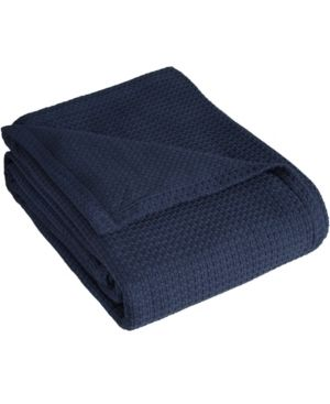 Elite Home Grand Hotel Cotton Solid Bed Blanket   Navy  Full Queen