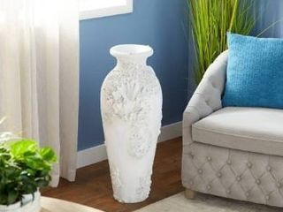 The Curated Nomad Barnacles Nautical Tall White Stone Floor Vase  Retail 158 49