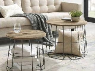 Berwick Metal and Wood Basket Nesting Tables  Retail 194 99