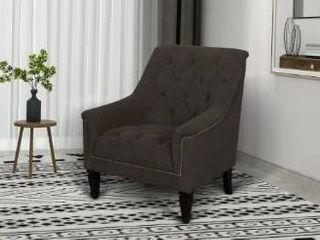 Dark Brown  Aurora Sloped Tufted Nailhead Arm Chair  Retail 304 99