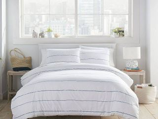 Full Queen Tideline Comforter Set Navy   City Scene