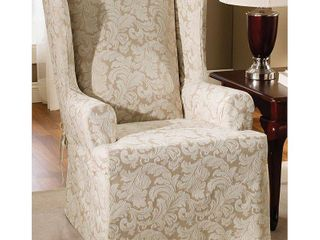 Set of 2 Champagne  Scroll Wing Chair Slipcover