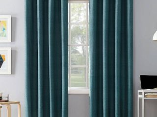 Set of 2 108 x50  Duran Thermal Insulated Total Blackout Grommet Top Curtain Panel Teal   Sun Zero