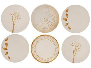 Melange 6 Piece Melamine Dinner Plate Set  Gold Nature Collection