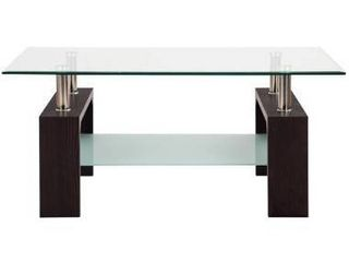Glass Coffee End Side Table Rectangular with Shelf Wooden leg  Retail 189 99