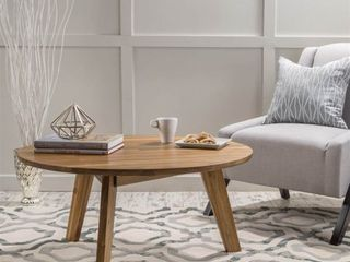 Canton Round Acacia Wood Coffee Table by Christopher Knight Home  Retail 149 99