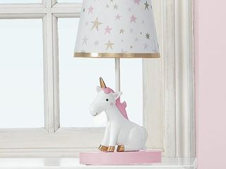 Bedtime Originals Rainbow Unicorn lamp with Shade   Bulb   Pink  Gold  White