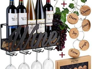 Wall Mounted Wine Rack   Bottle   Glass Holder   Cork Storage   Store Red  White  Champagne   Comes with 6 Cork Wine Charms   Home   Kitchen DAccor   Designed by Anna Stay  Wine