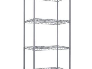 Home Basics 4 Tier Steel Wire Shelf  Grey