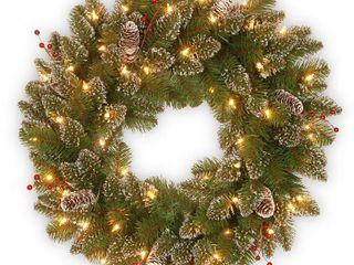 24  Green 24 inch Glittery Mountain Spruce Wreath with White Edged Cones  Red Berries and lights