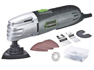 Genesis GMT15A 1 5 Amp Multi Purpose Oscillating Tool and 19 Piece Universal Hook And loop Accessory Kit with Storage Box