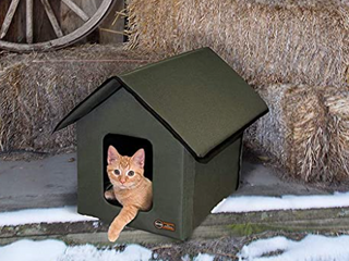 K h Heated House Pet Products Outdoor Kitty Shelter Cat Olive 22x18 Green Usa
