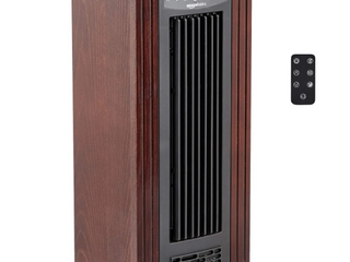 Infrared Quartz Tower Heater Brown Wood Grain Finish
