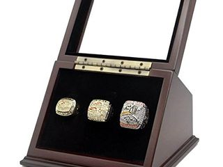 Championship Ring Display Case Wooden Box and Glass Window 3 Slot Gift for Sports Fans