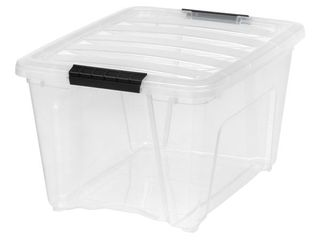 IRIS USA 32 Qt Clear Plastic Storage Box with latches  6 Pack
