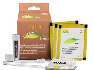 Mina Ibrow Henna Blonde Regular Pack   Tinting Kit For Eyebrow Color
