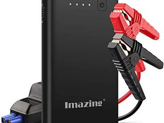 Imazing Car Jump Starter 1000A Peak with Type C Port Up to 7 0l Gas or 5 5l Diesel Engine  12V Portable Power Pack Auto Battery Booster with lCD Display Jumper Cables  QC 3 0 and lED light