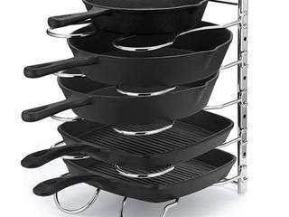 Caxxa Heavy Duty Pan and Pot Rack with Adjustable Dividers  Chrome