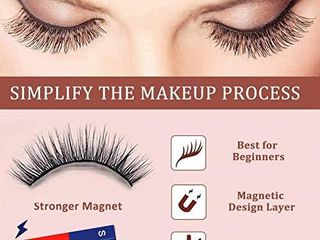 Magnetic Eyelashes with Eyeliner   5 Pairs Reusable 3D 5D Magnetic lashes Set with 2 Updated Magnetic Eyeliner and Tweezer with Natural look   Party Style False lashes  No Glue Needed  4 pairs