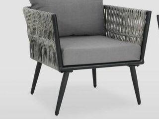 oceanus outdoor wicker club chair 1 only light Gray   Dark Gray Cushion  Retail 545 99