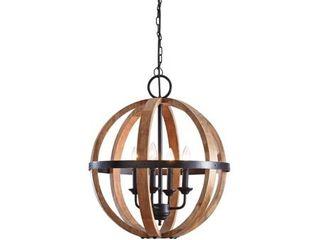 natural emiliano modern farmhouse black and natural wood pendant light 20 25  W x 20 25  D x 23 75  H   Black Natural  Retail 215 99