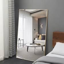 Modern Aluminum Alloy Thin Framed Full length Floor Mirror   Retail 124 99 black