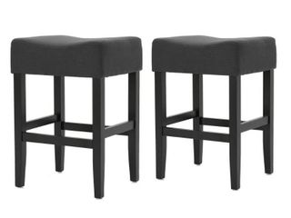 portman 26 inch fabric bacless counter stool Set of 2   Charcoal   Counter Height   23 28 in  Retail 163 99