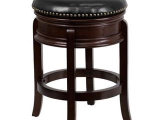 Flash Furniture 24  High Backless Cappuccino Wood Counter Height Stool with Carved Apron and Black leatherSoft Swivel Seat