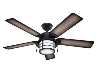 Hunter 54  Key Biscayne Outdoor Ceiling Fan with lED light Kit and Pull Chain  Damp Rated   Weathered Zinc  Retail 229 99