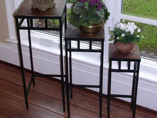 Null 3 pc slate square plant stands with slate top Retail 92 49