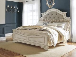 B743 58 56 97 Realyn Collection King Size Bed with Carved Details Button Tufted Details Fabric Upholstered Bracket legs Distress Details Wood no matress 3 boxes