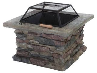 corporal natural stone square fire pit by christopher knight Grey  Retail 292 49