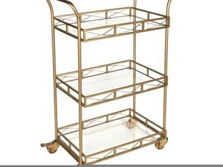 kate and laurel ketia Metal and glass 3 tiered bar cart Gold  Retail 199 99