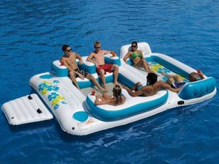 AlEKO Inflatable Floating Island lounge Raft with Cup Holders and Coolers   Tropical Breeze   6 Person   White and Blue  Retail 455 49