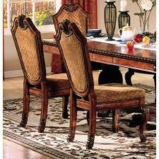 Acme Furniture Chateau De Ville Counter Height Chair  Set 2  Fabric and Cherry  Retail 362 49
