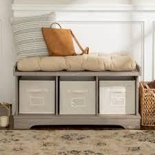 The Gray Barn Paradise Hill Storage Bench with Cushion  Retail 168 99 driftwood