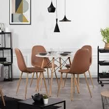 Carson Carrington Sagudden Modern Faux leather Dining Chair  Set of 4  Retail 239 49 brown
