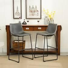 Carbon loft Inyo Vintage PU leather Counter Height Stools  Set of 2  Retail 146 99 grey