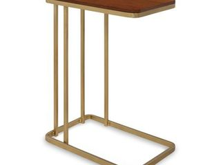kate and ashley credele modern glam c table with gold metal base Walnut Brown Gold  Retail 149 99