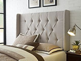 wingback tufted ivory queen full size Upholstered headboard only Retail 464 99