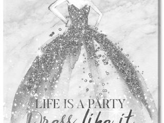 Wynwood Studio  life is a Party Silver  Fashion and Glam Wall Art Canvas Print   Gray  White