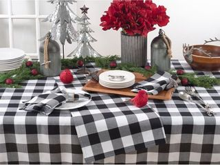 Saro lifestyle Buffalo Plaid Design Cotton Blend Tablecloth