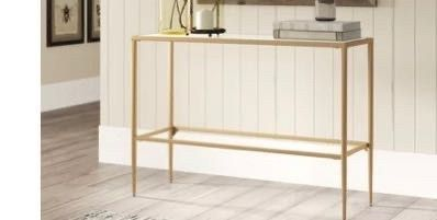 huxley 39 4  console table glass top gold legs