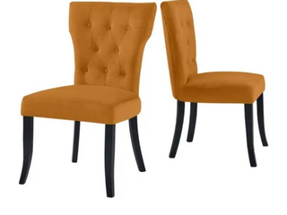 Mustard Gold  Copper Grove lagunas Velvet Upholstered Armless Dining Chairs  Set of 2  Retail 287 99